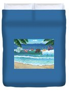 Clothesline At The Beach Duvet Cover
