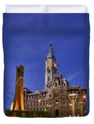 Clothespin And City Hall Duvet Cover by John Greim