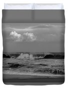 Cloud And Wave Black And White Seaside New Jersey  Duvet Cover