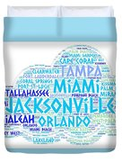 Cloud Illustrated With Cities Of Florida State Duvet Cover