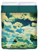 Clouds And Nyc Duvet Cover