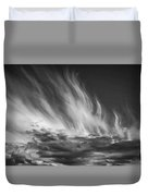 Clouds - Flame Shape - Black And White Duvet Cover