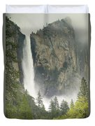 Clouds Hang Over Bridaveil Falls Duvet Cover