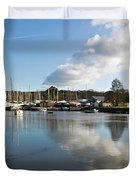 Clouds Over Cockwells Boatyard Mylor Bridge Duvet Cover