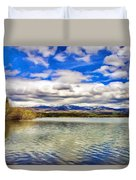 Clouds Over Distant Mountains Duvet Cover