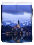 Clouds Over Lake Bled Duvet Cover