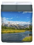 Clouds Over The Grand Tetons Duvet Cover