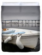 Cloudy Coronado Island Boat Duvet Cover
