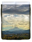 Cloudy Day Over Mount Hood At Hood River Oregon Duvet Cover
