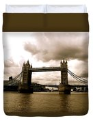 Cloudy Over Tower Bridge Duvet Cover