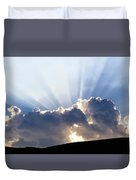 Cloudy Sky Over Mountains Silhouette At Sunset Duvet Cover
