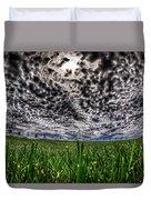 Cloudy Sky's Grassy Field Duvet Cover