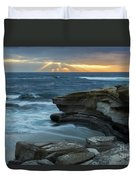 Cloudy Sunset At La Jolla Shores Beach Duvet Cover