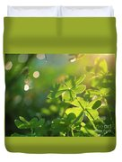 Clover Leaf In Garden, Macro Duvet Cover