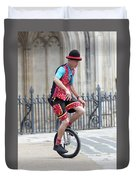 Clown Riding Unicycle In Town Duvet Cover