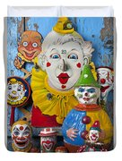 Clown Toys Duvet Cover by Garry Gay