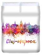 Cluj-napoca Skyline In Watercolor Splatter Duvet Cover