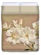 Cluster Of White Roses Posterized Duvet Cover