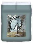 Coastal Art Contemporary Sailboat Painting Whimsical Design Silver Sea I By Madart Duvet Cover by Megan Duncanson
