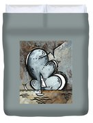 Coastal Art Contemporary Sailboat Painting Whimsical Design Silver Sea II By Madart Duvet Cover by Megan Duncanson