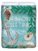 Coastal Christmas Card Duvet Cover