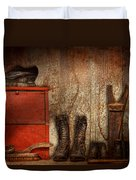 Cobbler - The Shoe Shiner 1900  Duvet Cover by Mike Savad