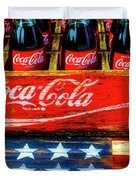 Coca Cola And Wooden American Flag Duvet Cover