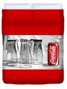 Coca-cola Glasses And Can - Selective Color By Kaye Menner Duvet Cover