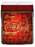 Coca Cola Square Aged Texture Black Border Duvet Cover