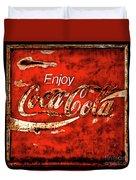 Coca Cola Square Soft Grunge Duvet Cover