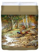 Cock Pheasant And Sulphur Tuft Fungi Duvet Cover by Carl Donner