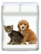 Cockapoo Puppy And Tabby Kitten Duvet Cover