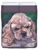 Cocker Spaniel Puppy Duvet Cover by Lee Ann Shepard