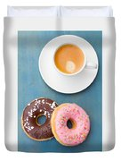 Coffee And Baked Donuts Duvet Cover