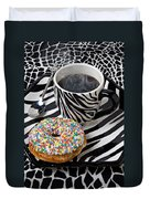 Coffee And Donut On Striped Plate Duvet Cover