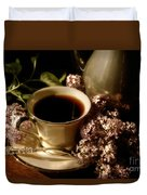 Coffee And Lilacs In The Morning Duvet Cover