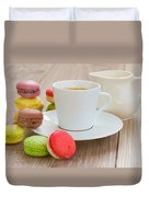 Coffee  And Macaroons Duvet Cover