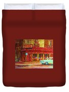 Coffee Bar On The Corner Duvet Cover
