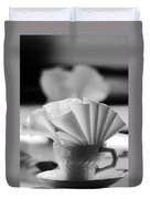 Coffee Cup Black And White Duvet Cover