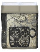 Coffee Flavors Gold And Black Duvet Cover