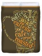 Coffee Lovers Word Cloud Duvet Cover