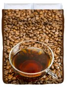 Coffee On Roasted Beans Duvet Cover