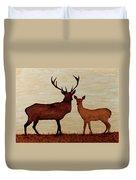 Coffee Painting Deer Love Duvet Cover