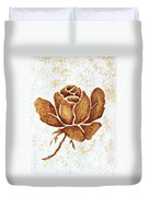 Coffee Painting Rose Blooming Duvet Cover