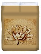 Coffee Painting Water Lilly Blooming Duvet Cover