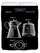 Coffee Pot Patent 1916 Black Duvet Cover