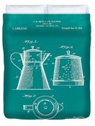 Coffee Pot Patent 1916 Green Duvet Cover