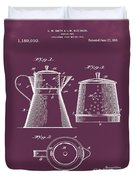Coffee Pot Patent 1916 Red Duvet Cover