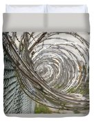 Coiled Razor Wire On Fence Duvet Cover