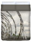 Coils Of Razor Wire On Fence Duvet Cover